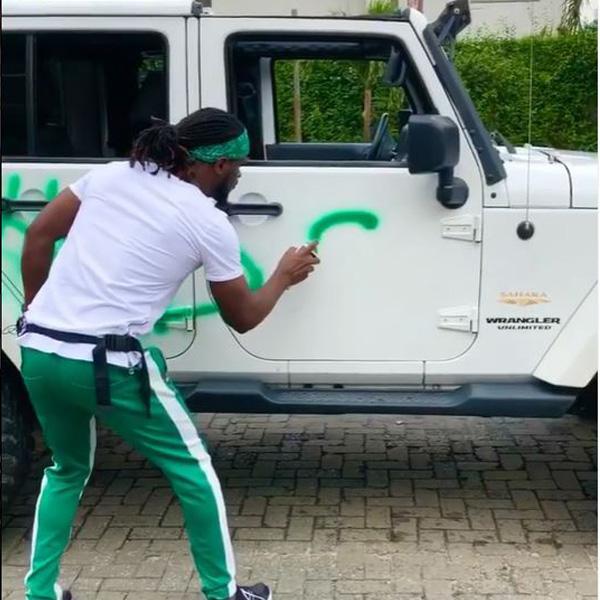 Paul Okoye Of Defunct P-Square, Sprays #EndSARS On His Jeep Wrangler  autojosh