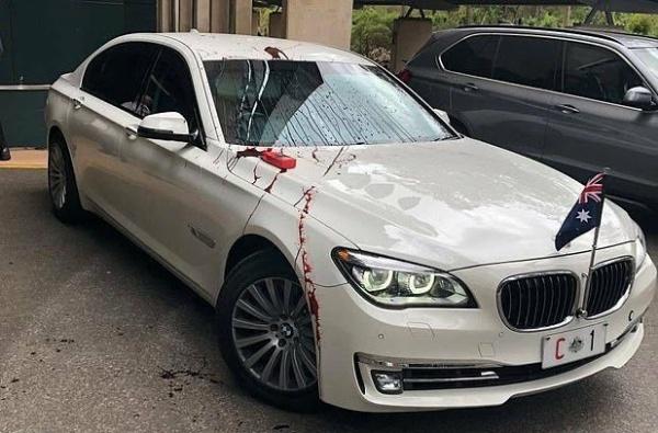 Australian Prime Minister car vandalised by protesters-autojosh