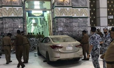 "Moment ""Abnormal"" Driver Rammed His Car Into Door Of Grand Mosque In Mecca - autojosh"