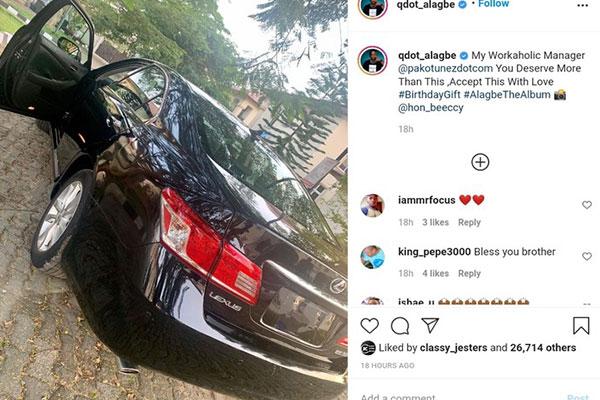 "Music Star Qdot Gifts ""Workaholic Manager"" Lexus ES 350 Worth N3.5m To Celebrate Birthday - autojosh"