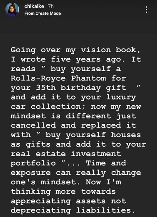 Why I Didn't Buy Rolls-Royce Phantom As Promised To Celebrate My 35th Birthday - Chika Ike - autojosh
