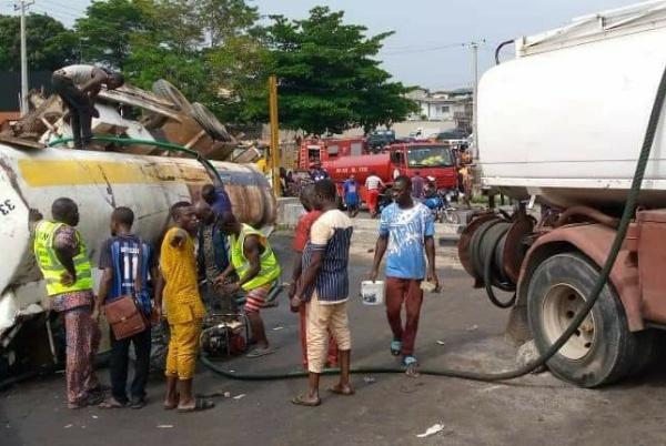 LASEMA Averts Fire After An Overturned Diesel Tanker Spilled Its Contents At Festac Link Bridge - autojosh