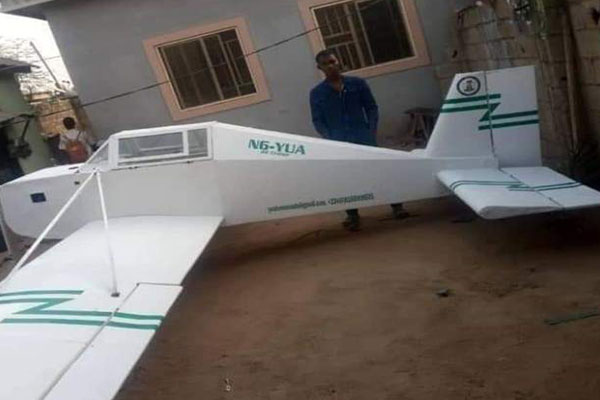 Maths Graduate From Adamawa Shows Off His Replica Mini Plane Built From Scrap Materials - autojosh
