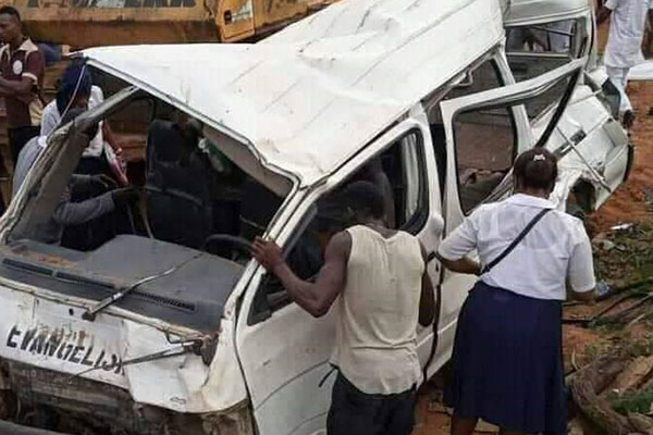 Two Feared Dead After An 18-seater Church Bus Crashes Into Bulldozer In Akwa Ibom - autojosh