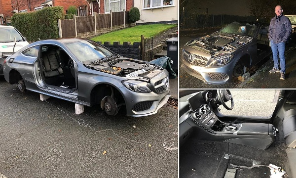 Professional Thieves Strip Mercedes Down Outside Owner's Home, Steals Doors, Bonnet, Boot, Wheels And Seats - autojosh
