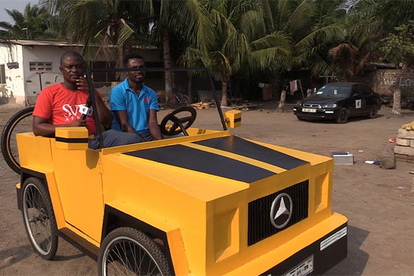 Pedal Car, Ghanaian Flaunts His Wooden Pedal Powered Two-seat Quadricycle - autojosh
