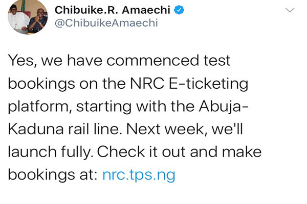 """""""Nigerian Railway Corporation Has Commenced Test Bookings On Its E-Ticketing Platform, Minister Of Information Says (PHOTOS)"""