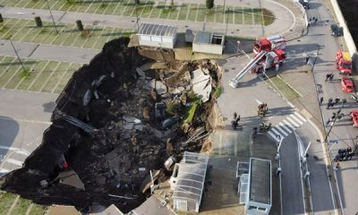 Huge Sinkhole, 66-feet Dip, Swallows Several Cars At Hospital's Car Park In Italy - autojosh