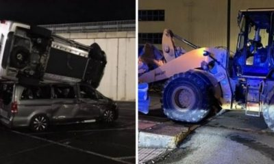 Angry Ex Mercedes Employee Uses Backhoe To Smash 50 V-Class Vans At Spanish Factory - autojosh