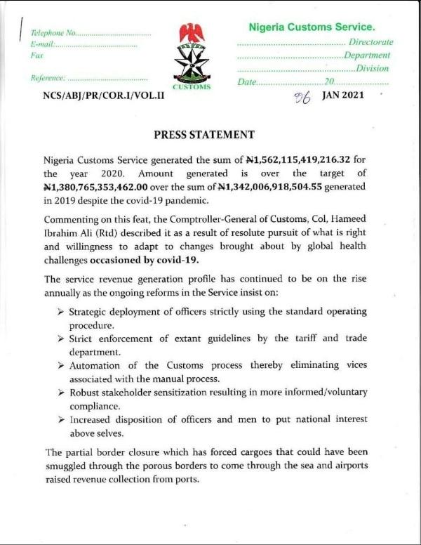 Nigeria Customs Service Generated N1.5 Trillion For The Year 2020 - autojosh