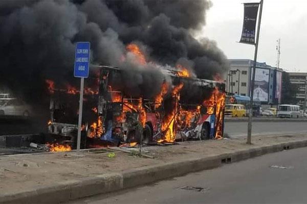 BRT Bus With 45 Passengers Catches Fire Idiroko In Lagos - autojosh
