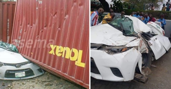 No Casualties As Two 20-ft Containers Fall Off The Road In Lagos; Crush Toyota Corolla Sedan Car - autojosh
