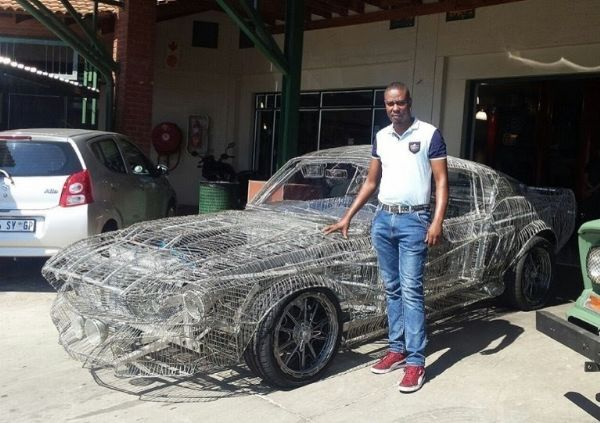 South African Man Wows Ford And Admirers, Creates Replica 1967 Ford Mustang Out Of Wire - autojosh