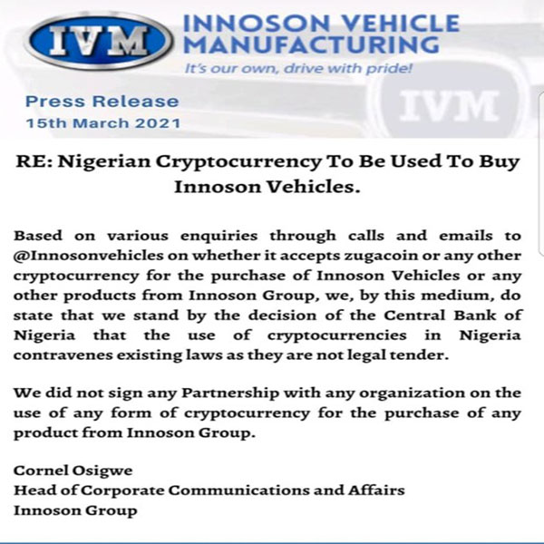 Innoson Warns Public To Debunk Alleged Business Partnership Deal With ZugaCoin, Says It Doesn't Exist (PHOTO)