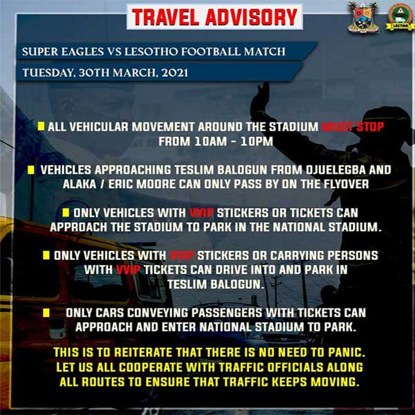 LASTMA Reels Out Traffic Rule To Follow In Lagos Ahead Of Super Eagles' Match Against Lesotho (PHOTO)