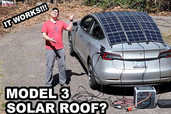 Man Adds Solar Roof To His Tesla Electric Car To Extend Drive Range - autojosh