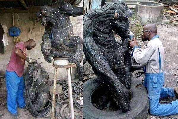 Nigerian Makes Sculptures Of Lion, Gorilla, Out Of Worn-out And Discarded Car Tyres - autojosh