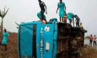 Ekiti United Team Bus Involved In Lone Accident - autojosh
