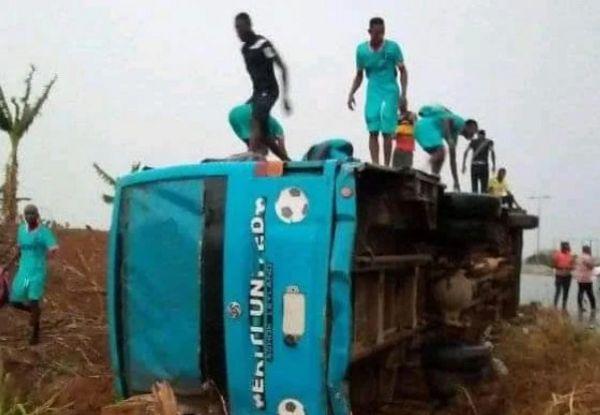Ekiti United Team Bus Involved In Lone Accident - autojosh