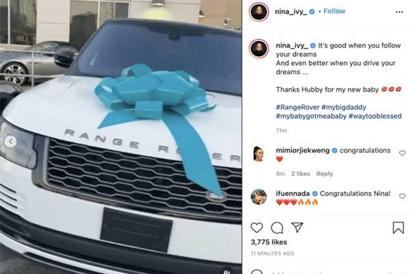 Former BBN Star Nina Ivy Gets Range Rover Gift From Husband