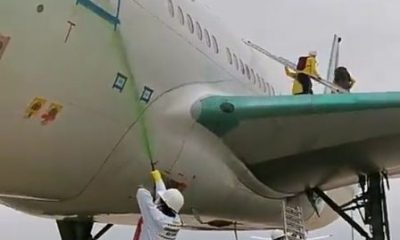 Breaking: Protesters Vandalize Air France 777 Aircraft With Green Paints At Paris Airport - autojosh