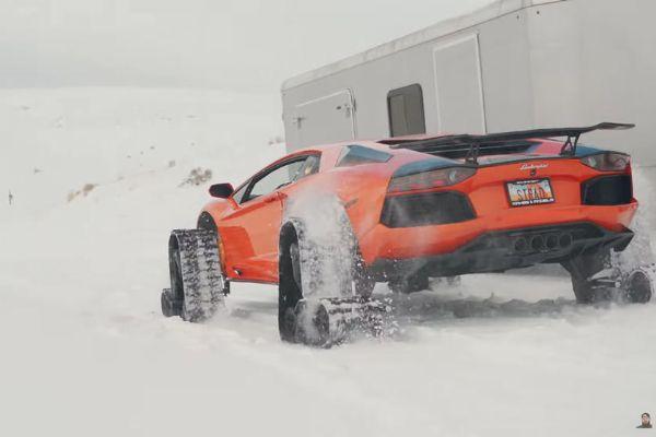 Snowmobile : Watch World's First Lamborghini On Tracks Conquer The Snow - autojosh