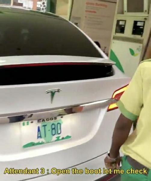 234Drive Pranks Petrol Attendants By Trying To Fuel Electric Tesla Model X At Filling Station In Lagos - autojosh