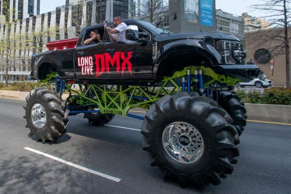 DMX Arrives At Memorial On Custom Monster Truck Surrounded By Hundreds Of Motorbikes - autojosh