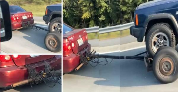 Toyota Corolla Seen Towing A Jeep Cherokee - See Why This Is Wrong - autojosh