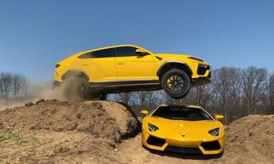 Watch YouTuber Jump His Lamborghini Urus Over His Wife's Lamborghini Aventador - autojosh
