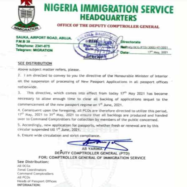 NIS Orders Suspension Of Passport Application Nationwide - autojosh