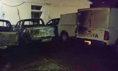 Hoodlums Attack INEC Office In Enugu, Burnt Six Toyota Hilux, Damage Two Other Vehicles - autojosh