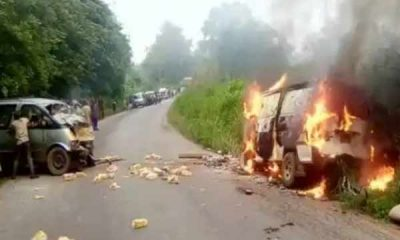 Fire Claims Two Lives In Ekiti After Toyota Previa Collided With Bus - autojosh