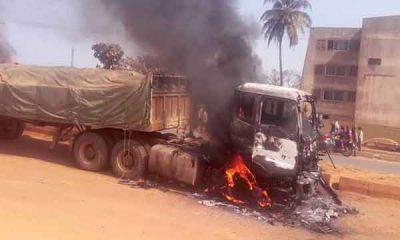 Angry Mob Sets Dangote Truck Ablaze For Crushing Okada Rider, Passenger To Death In Ogun - autojosh