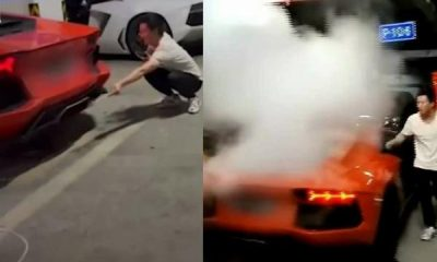 Chinese Man Grills Meat With Flames From Lamborghini Exhaust Pipe, Sets Engine On Fire - autojosh