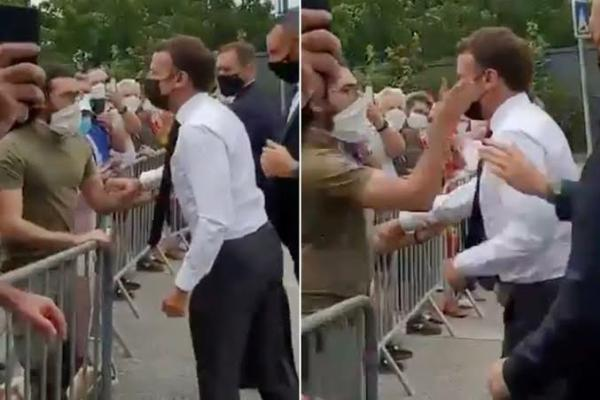 Moment French President Macron Got Slapped After Exiting His Car To Greet Crowd - autojosh