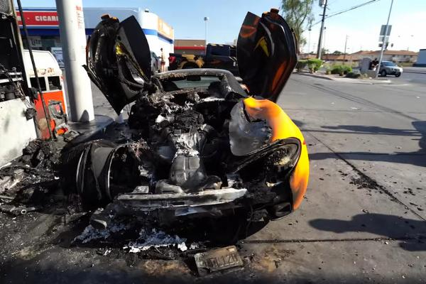 McLaren 570S Worth ₦120M Burst Into Flames While Being Filled Up At Petrol Station - autojosh
