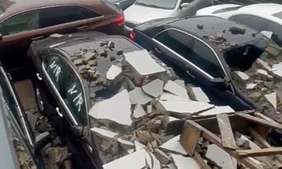 Nigerian Car Dealer In Tears After A Fence Collapsed On 6 Vehicles - autojosh