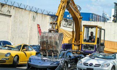 Philippines Customs Use Caterpillar To Destroy 21 Smuggled Cars Worth $1.2M, Including McLaren 620R - autojosh