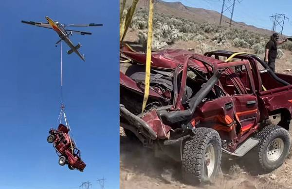 Youtuber Destroys Toyota Hilux Truck After Being Dropped From Helicopter 10,000 Feet Above - autojosh