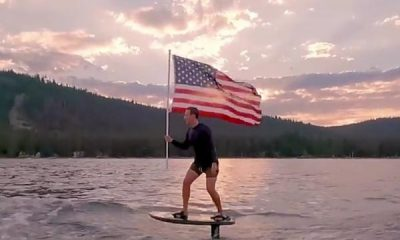 Mark Zuckerberg Celebrates July 4 Holding The US Flag While Surfing On His Expensive Electric Hydrofoil - autojosh
