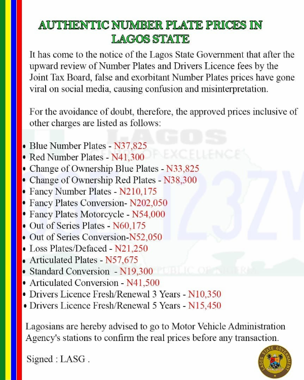 Lagos State Govt. Releases Authentic Number Plate Prices - autojosh