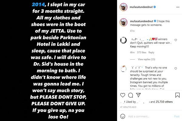 tunde ednut's instagram post about sleeping in a car