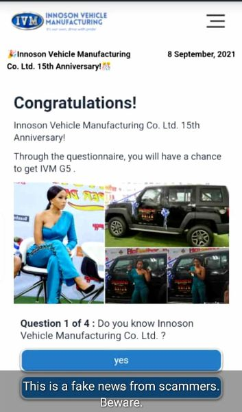 Fake News : Innoson Says It Is Not Giving SUV, Cash As Gift To Mark 15th Anniversary - autojosh