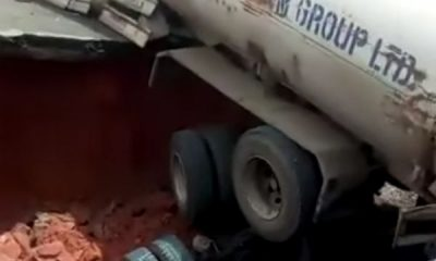 Giant Sinkhole Swallows Diesel Tanker In Owerri After Newly Constructed Road Collapsed - autojosh