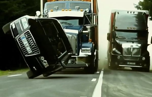 Transporter 3 : Audi A8 Drove On Two Wheels Between Two Trucks During A Chase By Mercedes E-Class - autojosh